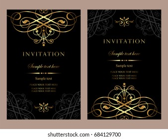 Invitation card design - luxury black and gold vintage style