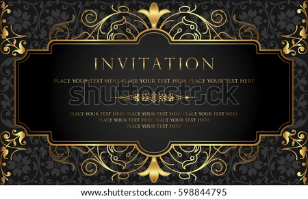 invitation card design luxury black gold のベクター画像素材