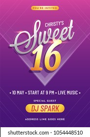 Invitation card design for Sweet 16 party celebration.