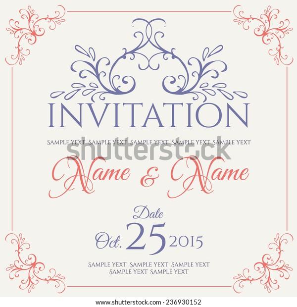 Invitation Card Design Vector Illustration Stock Vector