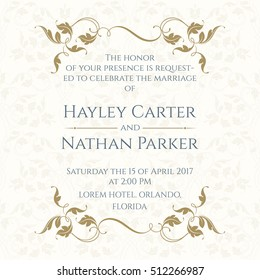 Invitation Card with Floral borders on Seamless Background. Classic Design Page. Wedding invitation, Save The Date, Valentines Day, Birthday Cards. Vector Template Cards.