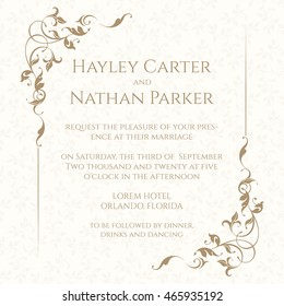 Invitation card with floral frame on seamless background. Classic design page. Wedding invitation, Save The Date, valentines day, birthday cards. Vector template cards.