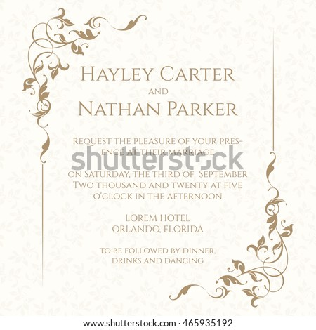 Invitation Card Floral Frame On Seamless Wektor Stockowy