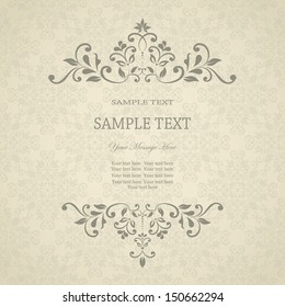 Invitation card with floral pattern on damask background. eps10