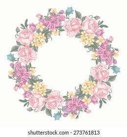 Invitation card with floral round wreath in pastel colors colors. Roses, decorative peas, buttercups. Vintage vector illustration.