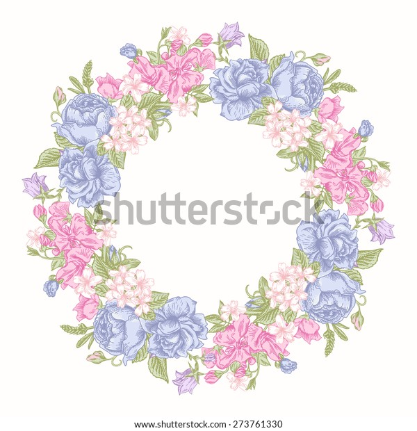 Invitation card with floral round wreath in pastel colors. Roses, decorative peas, buttercups. Vintage vector illustration.