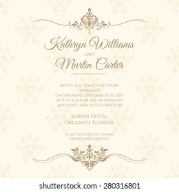 Invitation card with floral seamless pattern. Wedding invitation. Vector template cards.