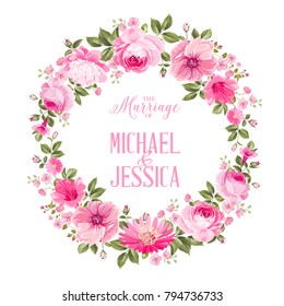 Invitation card with floral whreath of roses and template text. Vector illustration.