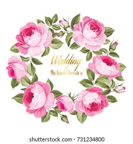 Invitation card with floral whreath and template text. Rose wreath isolated on white. Luxurious marriage card of circle flower label. Vector illustration.