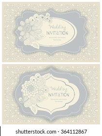 Invitation Card with Flowers in a folk style