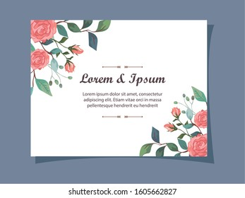invitation card with flowers and leafs decoration vector illustration design