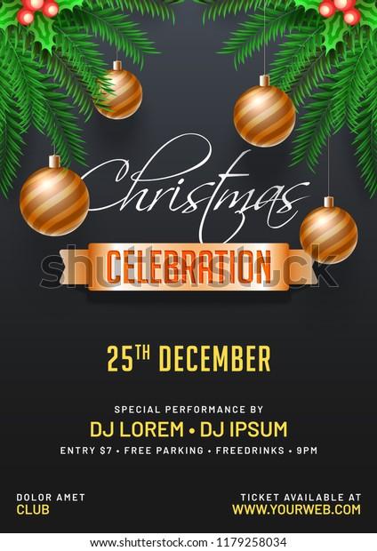Invitation Card Flyer Design Decorated Christmas | Holidays Stock ...