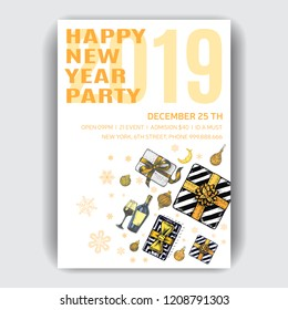 Invitation card for a friendly dinner on New Year's Eve. Invitation flyer for a Christmas party in a restaurant.