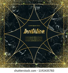 Invitation card with gold geometric artdeco frame and gold glitter on black marble background. Luxury square mock up, template for greeting, birthday, wedding cards, posters with text place.