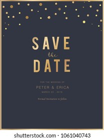 Invitation card with gold and minimal texture design for Save the Date,Wedding, Greeting Cards