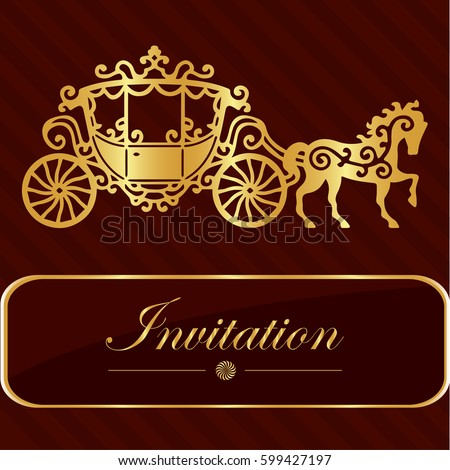 Invitation Card Golden Lettering Vintage Horse Stock Vector Royalty