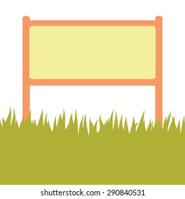 Invitation card. Card with green grass and street stand isolated on white background with empty space. Vector illustration.