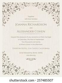 Invitation card with grunge texture. Wedding invitation