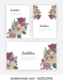 Invitation card with hand drawn vintage flowers
