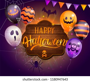 Invitation card for Happy Halloween party on wooden board with monster balloons, spider, bat and lettering. Perfect for for web, posters, placards, flyers, banners, greetings. Vector illustration.