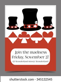 Invitation card - Hatter's Hat from Wonderland.  Printable Vector Illustration for Graphic Projects, Parties, Scrapbooking and the Internet.