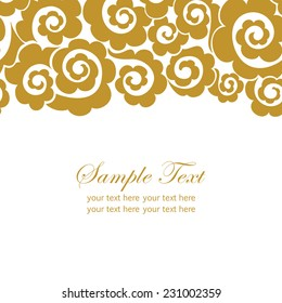Invitation card with lace ornament.Gold doodles elements  on white background with place for text.It can be used for decorating of invitations, cards, covers.Vector illustration.