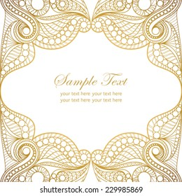 Invitation card with lace ornament.Vintage gold lace on white background with place for text.It can be used for decorating of invitations, cards.Vector illustration in asian and east style.