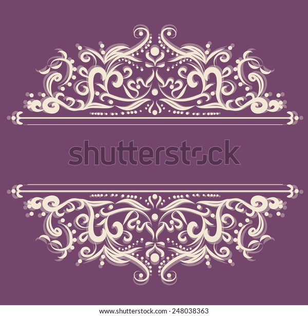Invitation Card Line Drawing Design Elements Stock Vector