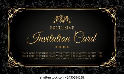 Invitation card luxury gold and black design