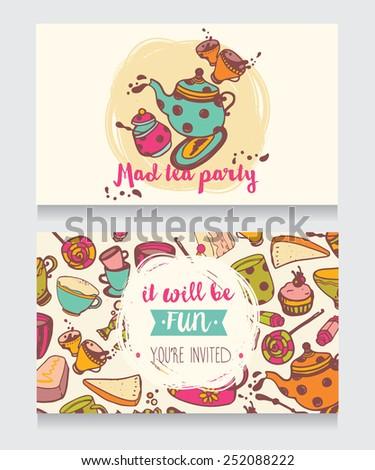 Invitation Card Mad Tea Party Cute Stock Vector Royalty Free