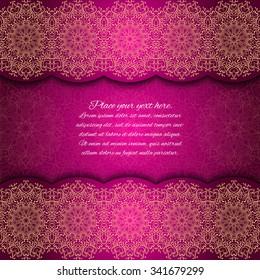 Invitation card with mandala border. Red lace card. Glowing. Gold mandala frame.