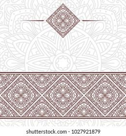 Invitation card with mandala. Vintage decorative elements
