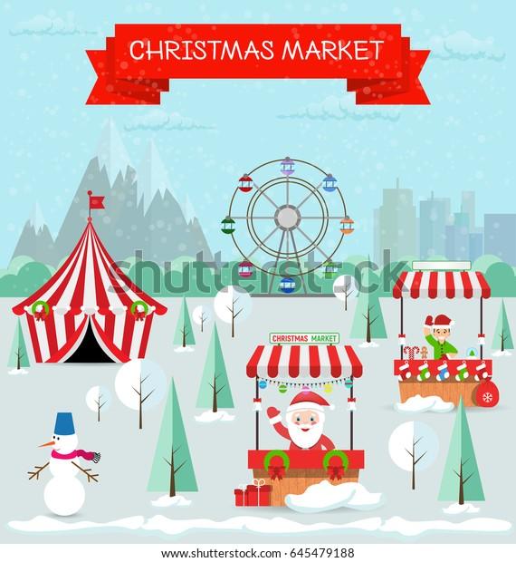 Invitation Card Merry Christmas Happy New Stock Vector