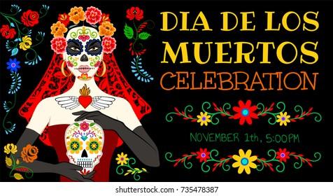 Invitation card for mexican Day of the Dead (Dia de los Muertos) and Calavera Catrina