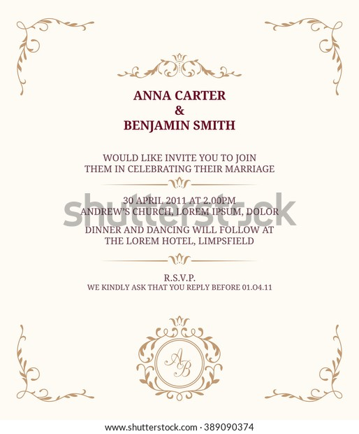 Invitation Card Monogram Wedding Invitation Save Stock