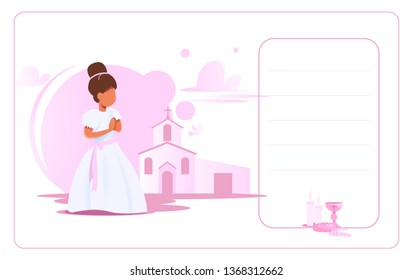 Invitation card My first communion: Little girl dressed in white to celebrate the Catholic communion. Vector