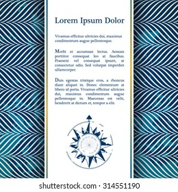 Invitation card with nautical rope decor - rope pattern in blue color