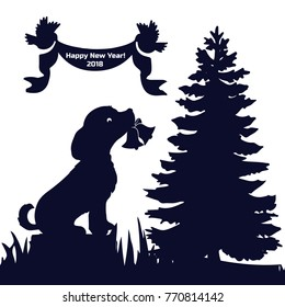 Invitation card (New Year's Eve 2018), dog in the forest sits on a stump and holds his bells in the teeth, silhouette on a white background, vector