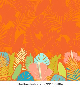 Invitation card with palm leaves border.Theme for design