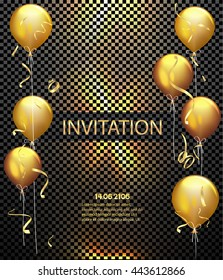 Invitation card. Party background. Gold shiny flying confetti and air balloons. Vector illustration