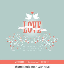 Invitation card with pigeons. Wedding or Valentine`s Day. Vector illustration