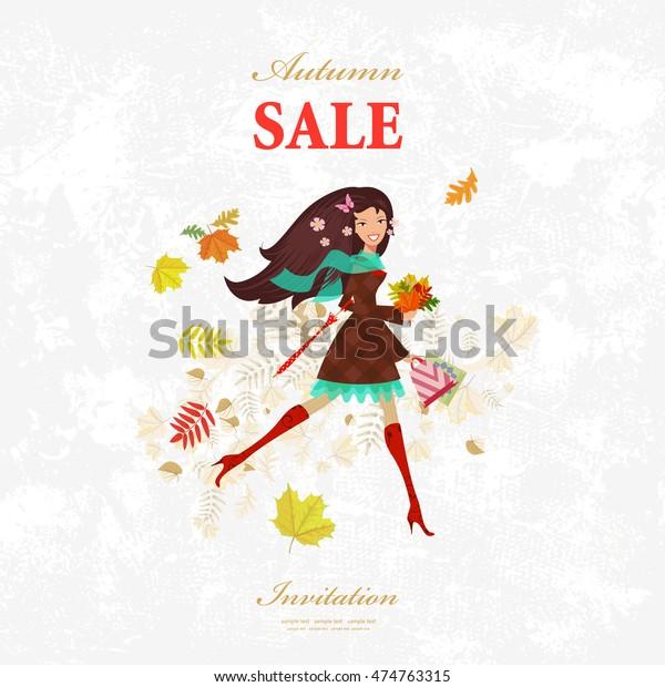 Invitation Card Pretty Girl Walking Shopping Stock Image