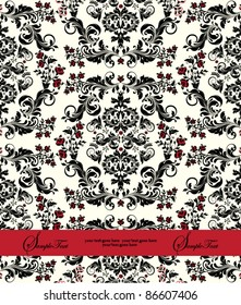 INVITATION CARD WITH RED AND BLACK FLORA ELEMENTS