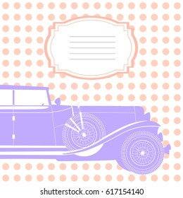 Invitation card with retro car, card with pink doted background for design, pink and purple invitation, wedding card with cadillac  for signature, cover for notebook or sketchbook