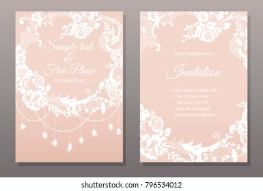invitation card in romantic lace style