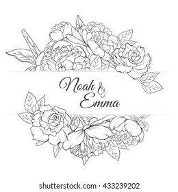 Invitation card with rose and peony flowers. Flower frame. Vector illustration. save the date card, greeting card. Black and white.