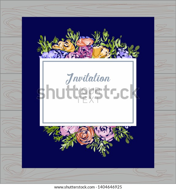Invitation Card Save Cards Vector Watercolor Stock Vector