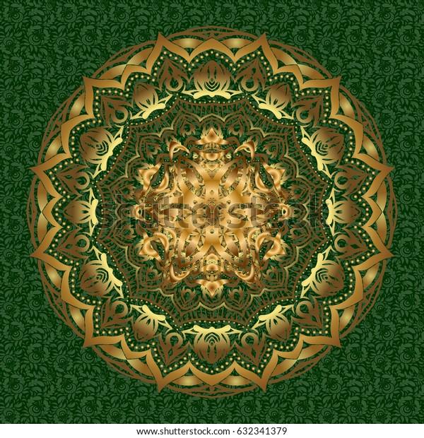 For invitation card, scrapbook, banner, postcard, tattoo, yoga, boho, magic, carpet, tile or lace. Decorative vector ornate gold mandala icon isolated for card, golden Mandala on a green background.