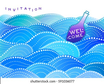 invitation card with sea waves and purple bottle - vector illustration