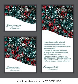 Invitation card set with abstract ethnic floral pattern - vector